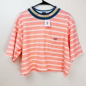 Urban Outfitters Gotcha Cropped Striped Tee Shirt